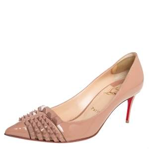 Christian Louboutin Beige Patent Leather And Mesh Pyrami Pumps Size 38.5