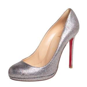 Christian Louboutin Metallic Silver Glitter MiNi Pumps Size 39.5