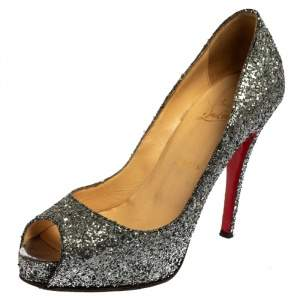 Christian Louboutin Metallic Grey Glitter Fabric New Very Prive Peep Toe Pumps Size 38