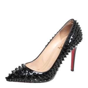 Christian Louboutin Black Patent Leather Pigalle Spikes Pumps Size 39