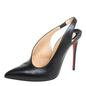 Christian Louboutin Black Leather Rivafish Pointed Toe Sandals 38.5