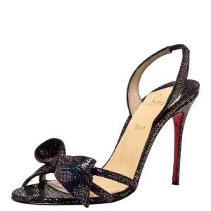 Christian Louboutin Black Glitter Bow Sling Back Sandals Size 38