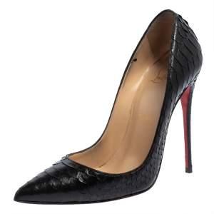 حذاء كعب كريستيان لوبوتان سوكيت جلد ثعبان أسود مقاس 37
