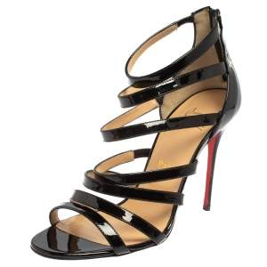 Christian Louboutin Black Patent Leather Caged Mariniere Sandals Size 38