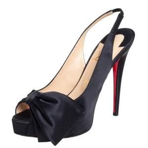 Christian Louboutin Black Satin Bow Slingback Platform Sandals Size 39.5