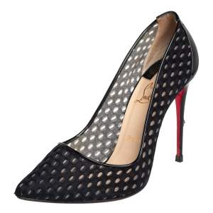 Christian Louboutin Black Fabric And Patent Leather Pointed Toe Pumps Size 38.5