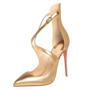 حذاء كعب عالى كريستيان لوبوتان مقدمة مدببة مارلين روك جلد ذهبى مقاس 38.5