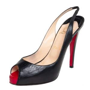 Christian Louboutin Black Leather Private Number Peep Toe Slingback Sandals Size 38.5