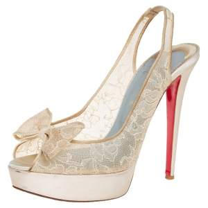 Christian Louboutin Cream  Lace And Suede Bow Slingback Sandals Size 40
