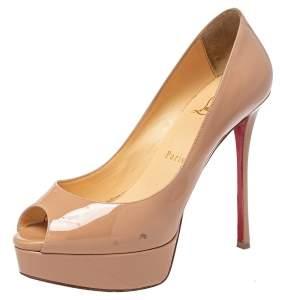 حذاء كعب عالى كريستيان لوبوتان مقدمة مفتوحة فيتش جلد لامع بيج مقاس 37