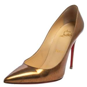 Christian Louboutin Gold Patent Leather Decollete Pumps Size 37.5