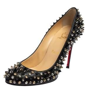 حذاء كعب عالى كريستيان لوبوتان سبايكز فيفى جلد أسود مقاس 38.5