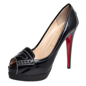 حذاء كعب عالى كريستيان لوبوتان مقدمة مفتوحة بينشى جلد لامع أسود مقاس 38.5