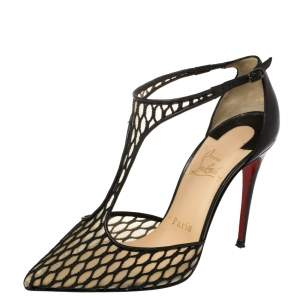 Christian Louboutin Black Lace and Mesh Salonu Pointed Toe T Strap Sandals Size 36