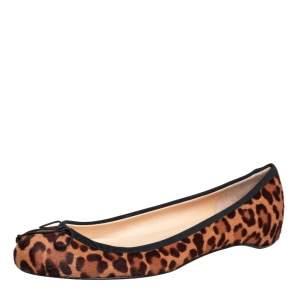 Christian Louboutin Brown/Beige Leopard Print Calf Hair Bow Ballet Flats Size 37