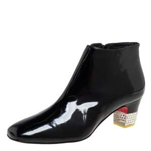 Christian Louboutin Black Patent Leather Zipper Detail Ankle Boots Size 38.5