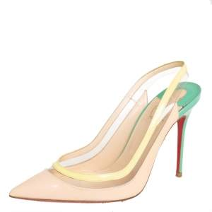 Christian Louboutin Tricolor PVC And Patent Leather Slingback Sandals Size 37