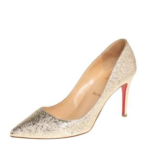 Christian Louboutin Gold Foil Leather So Kate Pumps Size 39.5