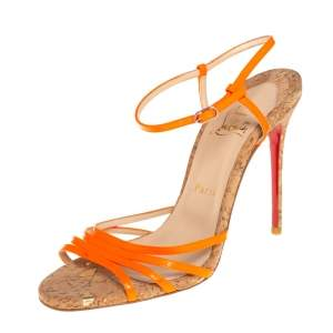 Christian Louboutin Orange Leather Belbride Ankle Strap Sandals Size 38.5