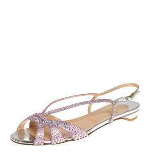 Christian Louboutin Pink Metallic Leather Lady Strass Crystal Embellished Flats Size 36