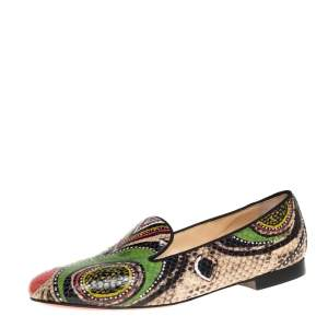 Christian Louboutin Multicolor Python Smoking Slippers Size 38