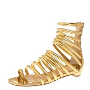 Christian Louboutin Gold Leather Catchetta Gladiator Flat Sandals Size 36