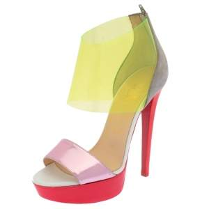 Christian Louboutin Multicolor Leather And PVC Dufoura Platform Sandals Size 36
