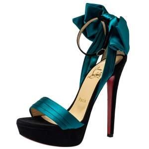 Christian Louboutin Turquoise Vampanodo Satin Bow Sandals Size 35.5