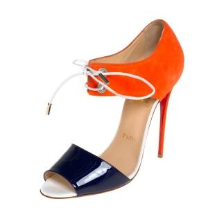 Christian Louboutin Two Tone Patent Leather and Suede Mayerling Sandals Size 39.5