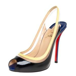 Christian Louboutin Tricolor Patent Leather And PVC Paulina Pointed Toe Slingback Sandals Size 36