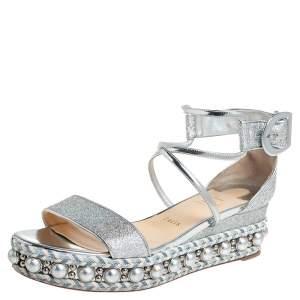 Christian Louboutin Silver Lurex Fabric Chocazeppa Wedge Platform Espadrille Sandals Size 39