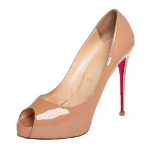 Christian Louboutin Beige Patent Leather New Very Prive Pumps Size 40