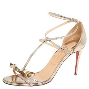Christian Louboutin Metallic Gold Patent Leather Ankle Strap Sandals Size 40