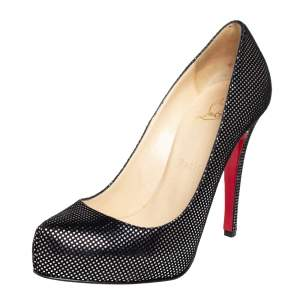 Christian Louboutin Black Suede with Metallic Silver Polka Dots Platform Pumps Size 37