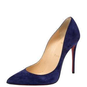Christian Louboutin Blue Suede Pigalle Follies Pumps Size 37.5