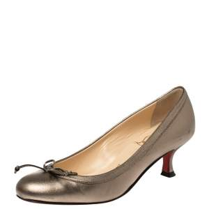 Christian Louboutin Metallic Olive Green Leather Bow Pumps Size 35.5