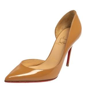 Christian Louboutin Beige Patent Leather Iriza D'orsay Pumps Size 34