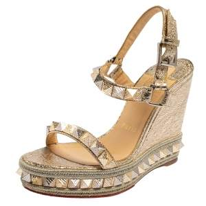 Christian Louboutin Gold Foil Leather Studded Pyradiams Wedge Sandals Size 36