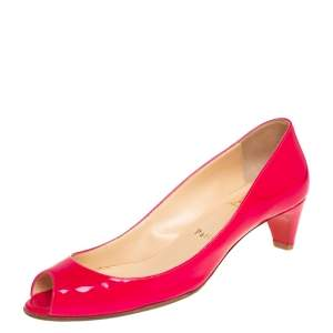 Christian Louboutin Pink Patent Leather Kitten Heel Peep Toe Pumps Size 37
