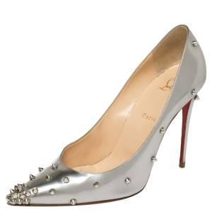 Christian Louboutin Metallic Silver Leather Degraspike Pointed Toe Pumps Size 41