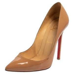 Christian Louboutin Beige Patent Leather So Kate Pumps Size 38