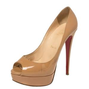 Christian Louboutin Beige Patent Leather Lady Peep Toe Platform Pumps Size 38