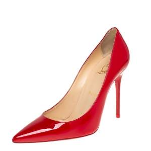 Christian Louboutin Red Patent Leather Pigalle Follies Pumps Size 38.5