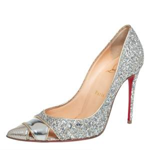 Christian Louboutin Silver Leather And Glitter Biblio Pumps Size 36.5