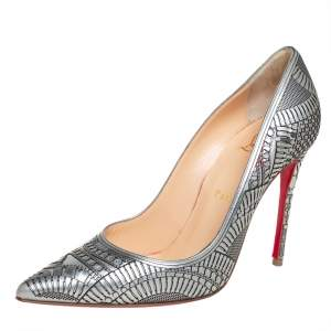 Christian Louboutin Silver Leather Kristali Laser-Cut Pumps Size 37.5
