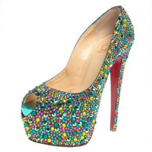 Christian Louboutin Multicolor Strass Embellished Suede Highness Platform Pumps Size 39