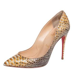Christian Louboutin Beige/Silver Python Leather So Kate Pumps Size 38