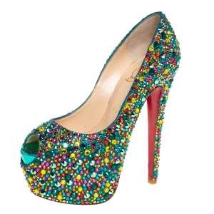 Christian Louboutin Green Leather Highness Crystal Embellished Pumps Size 37.5