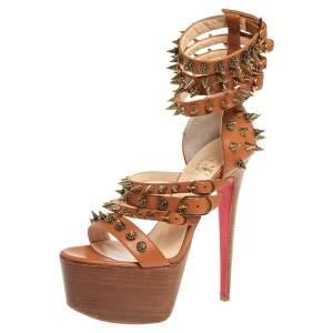 Christian Louboutin Brown Leather Botticellita Spiked Platform Sandals Size 36