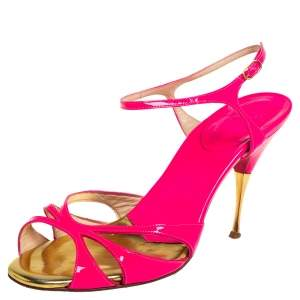 Christian Louboutin Pink/Gold Patent Leather  Ankle Strap Sandals Size 38.5
